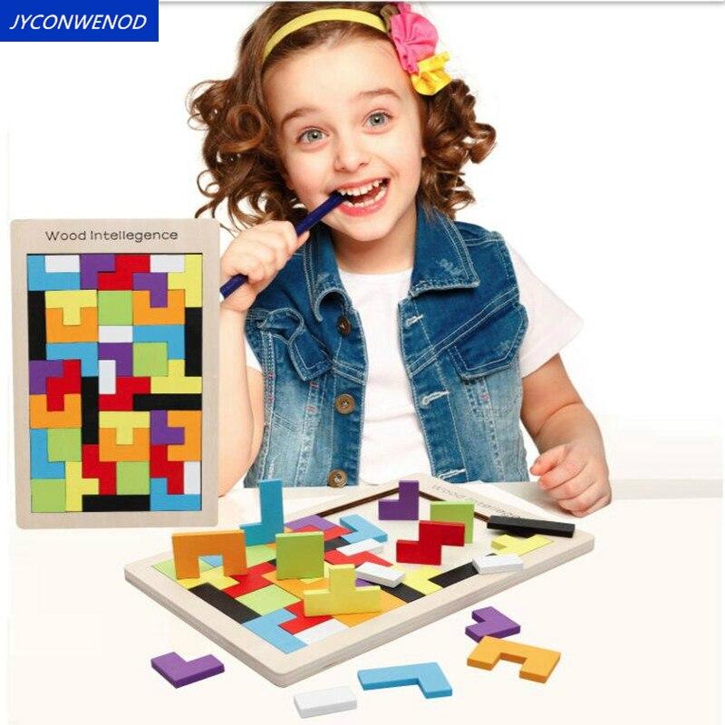 Juguetes Tetris de madera para bebé, tablero rompecabezas Tangram colorido, juguetes educativos para niños, regalo