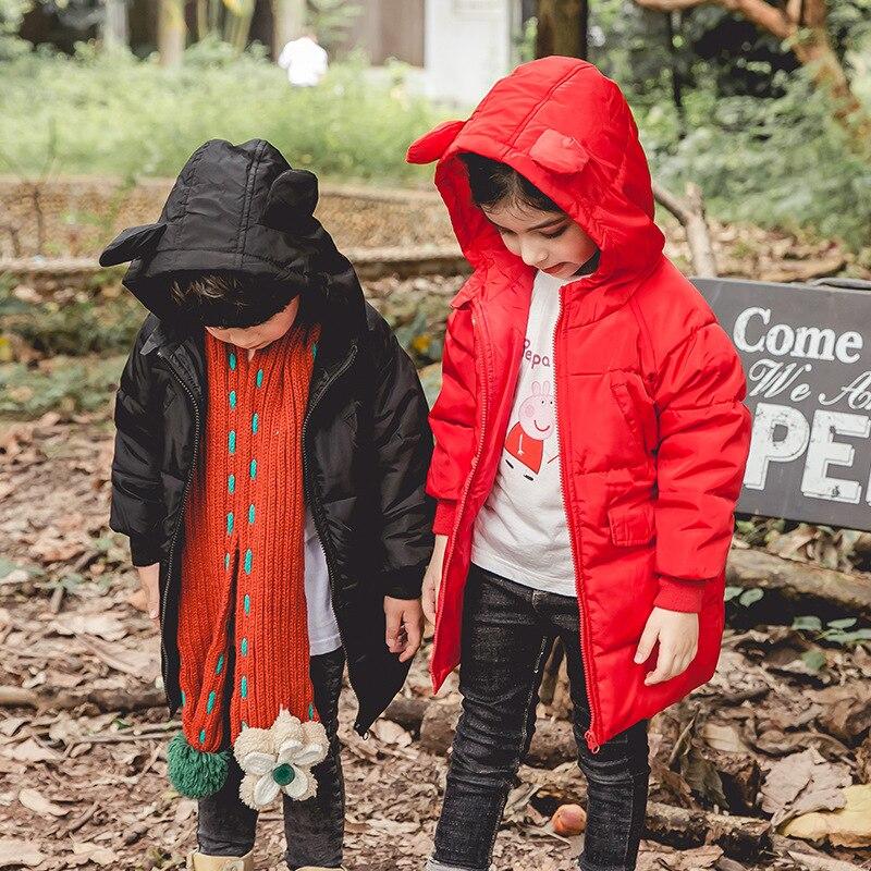 RUICHENG lindo 3D conejo orejas abajo abrigo bebé niños largo medio Parkas ligero pero cálido chaqueta de invierno Infantil niños niñas