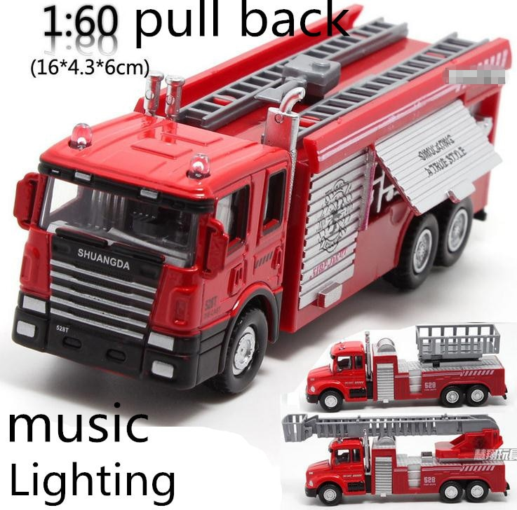 Free shipping ! 1 : 60 alloy pull back Sound and light Fire engine toy model,Classic Toys,Children's educational toys