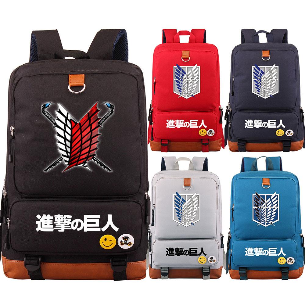 2019 New Anime Wings sword Attack on Titan Boy Girl School bag Women Bagpack Teenagers Patchwork Canvas Men Student Backpack