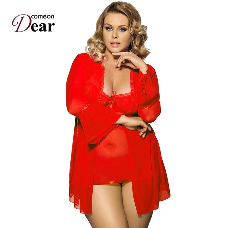 Comeondear, vestido de dormir y abrigo y ropa de noche de hilo G, lencería de manga larga para mujer, camisón de talla grande, ropa de dormir R80185