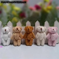 5pcs mini plush bear toys small pendant joints bears hands and feet can be active soft stuffed toy for kids unisex 6cm 2019 hot