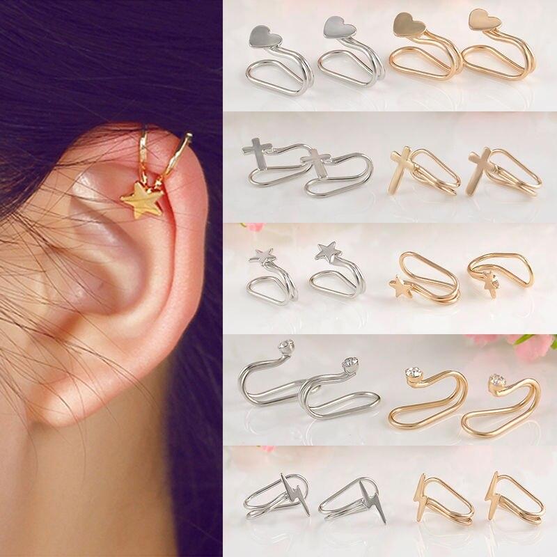 Venta, 1 unidad de Clips de oreja plateados y brillantes para mujer, Piercing para cartílago, pendientes Unisex con Clip, regalo