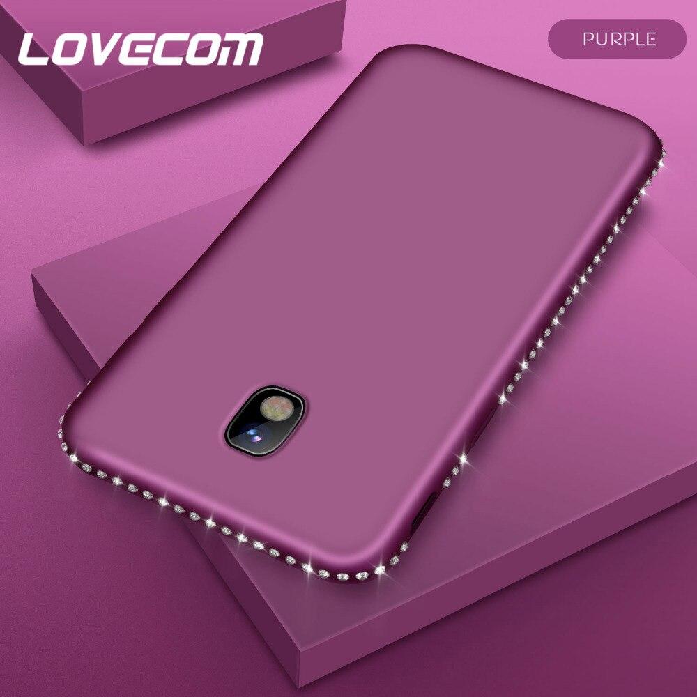 Lovecom lujo diamante Bling charol funda para Samsung S7 Edge S8 S9 Plus Note 8 cuerpo completo suave TPU funda trasera del teléfono