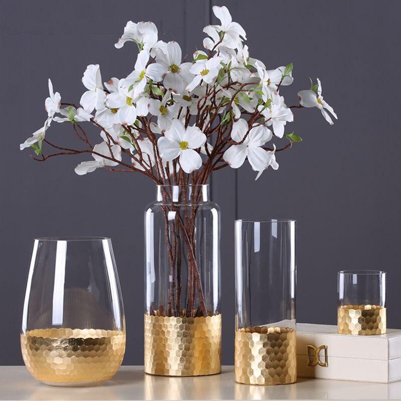 Florero de cristal europeo con figuritas de papel de aluminio dorado Decoración Para sala de estar hogar MESA DE ORO planta florero de artesanía regalos de boda