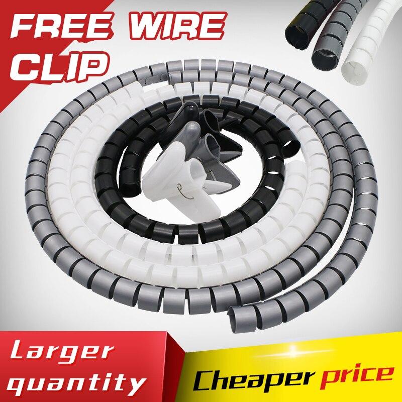 5 M/rollo 22 MM Cable espiral envolver tubo línea paquete Cable protección Cable mangas bobina tubería tubo de 3 colores