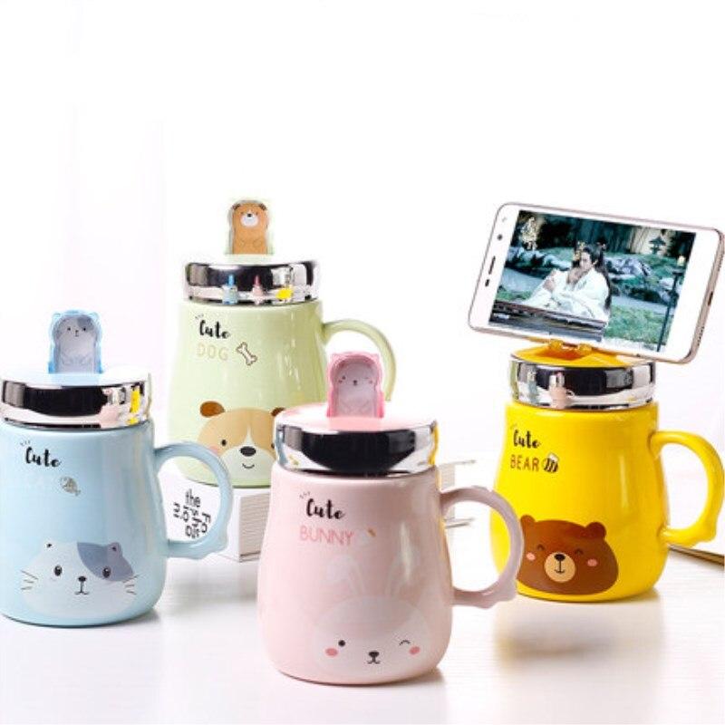 Tazas de cerámica gran oferta soporte de teléfono móvil taza de té de la leche de Animal taza de gato lindo oso conejo taza de agua de pareja