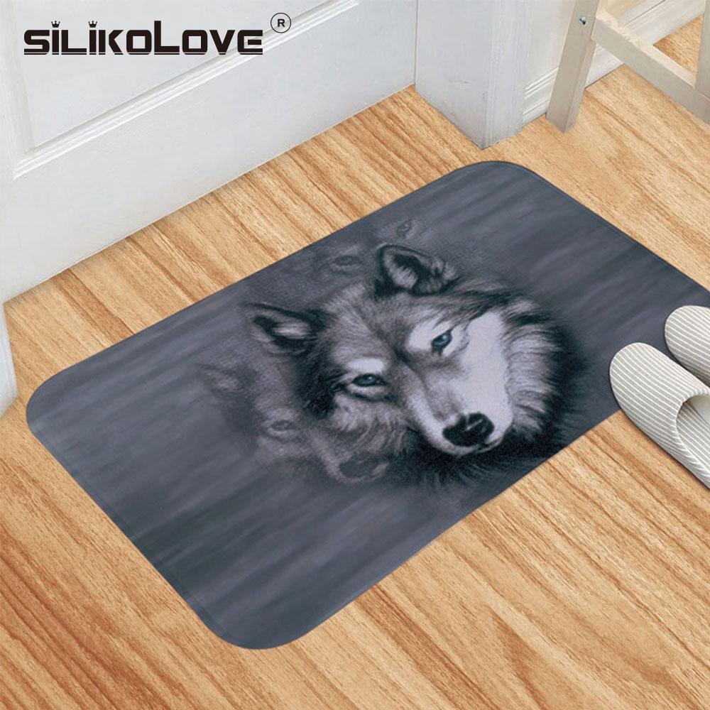 SILIKOLOVE 40*60cm Non Slip Animals Dog Cat Wolf Bath Mat Bathroom Carpet Rug dywaniki lazienkowe