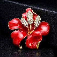 Mode romantique mariage coquelicot fleur broche rouge émail broches mode bijoux élégant Kate princesse mémorial broches pour les femmes