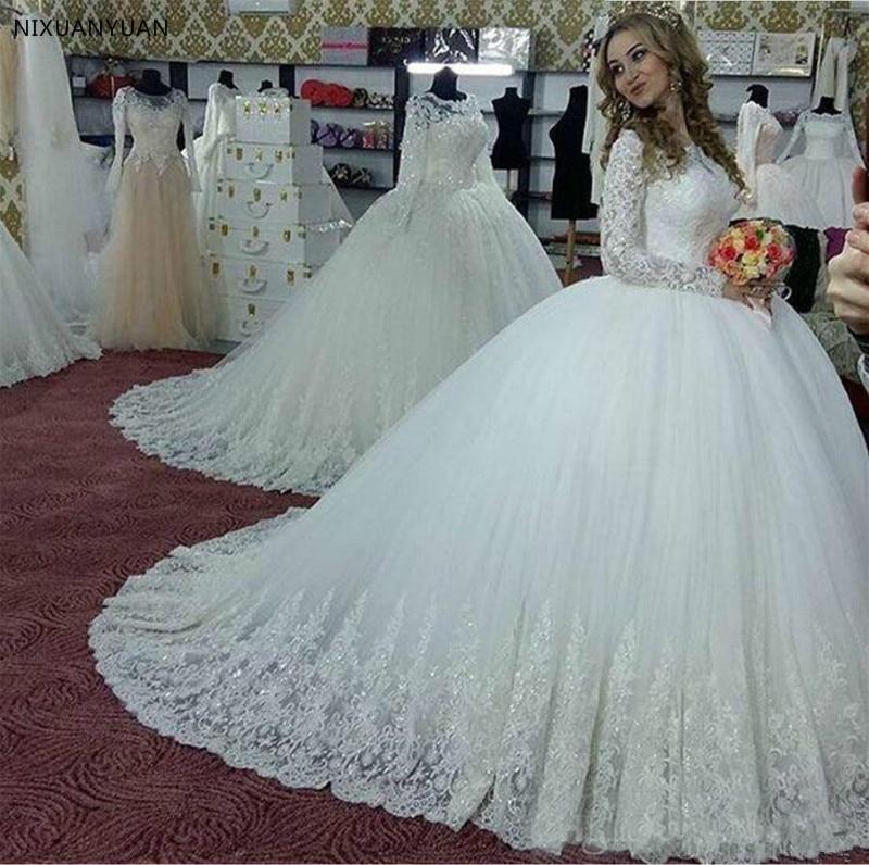 2021 в винтажном стиле Одежда с длинным рукавом Кружевное бальное платье свадебные