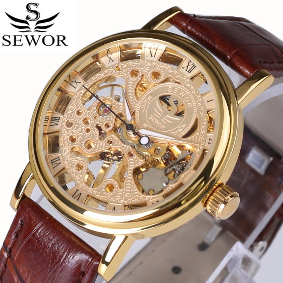 Heren Horloge Watches Men Leather Strap Gold Mechanical Hand Wind Skeleton Watch Luxury Vintage Steampunk Clock Top Brand 2017