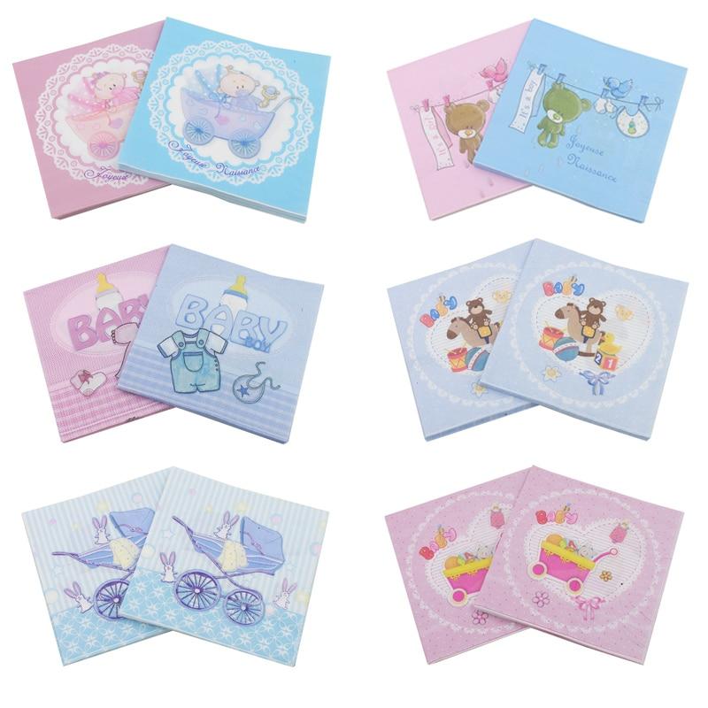 [RainLoong] Baby Shower Paper Napkin For Boy Girl Gender Reveal Party Tissue Napkin Decoration Serviettes 33*33cm 5packs