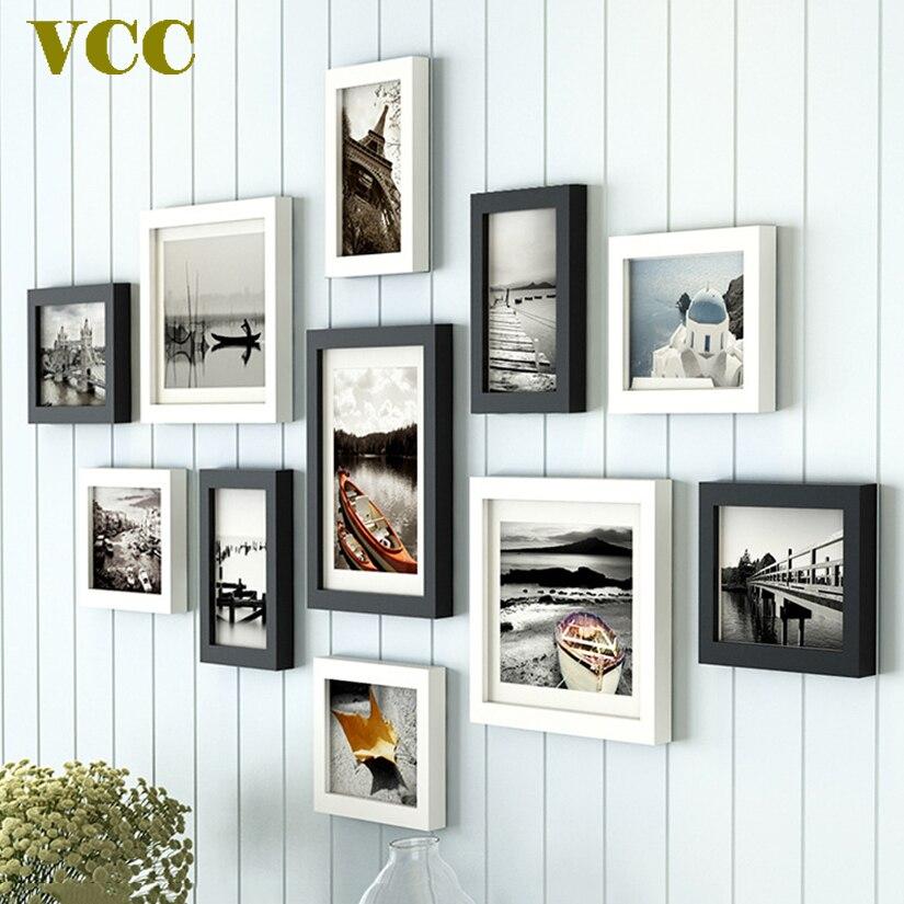 11 Uds Estilo nórdico foto de madera Natural portarretratos Color blanco y negro, marco de Arte de pared de madera barato Set para sala de estar