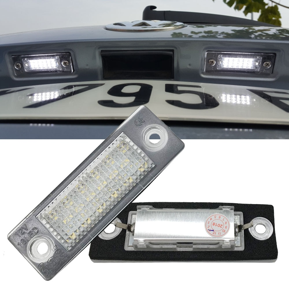 2Pc Car 18 LED Number License Plate Light Lamp No Error For VW Touran Passat Cimousint B5.5 SKODA Su