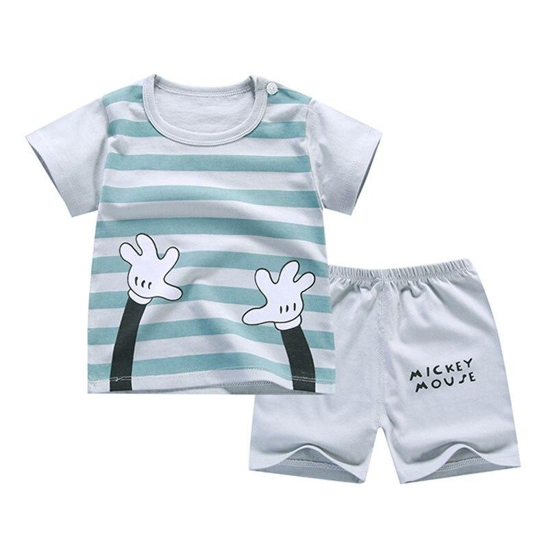 Летняя футболка + короткие штаны, 2020 комплекты хлопковой одежды для маленьких мальчиков и девочек, комплект одежды, одежда для новорожденных, костюмы, комплект из 2 предметов для детей 6 мес.-7 лет