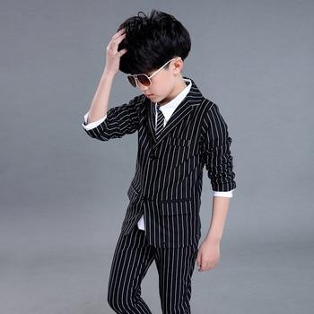 Dollplus 2020 костюмы для мальчиков 2 шт. Свадебный черно-белый полосатый деловой костюм в английском стиле для мальчиков детская одежда