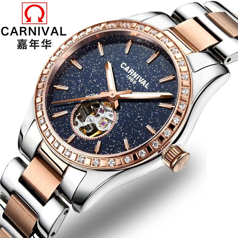 ¡Novedad de 2019! reloj automático de lujo para mujer, marca de Carnaval Tourbillon, relojes para mujer, relojes luminosos impermeables, reloj automático para mujer