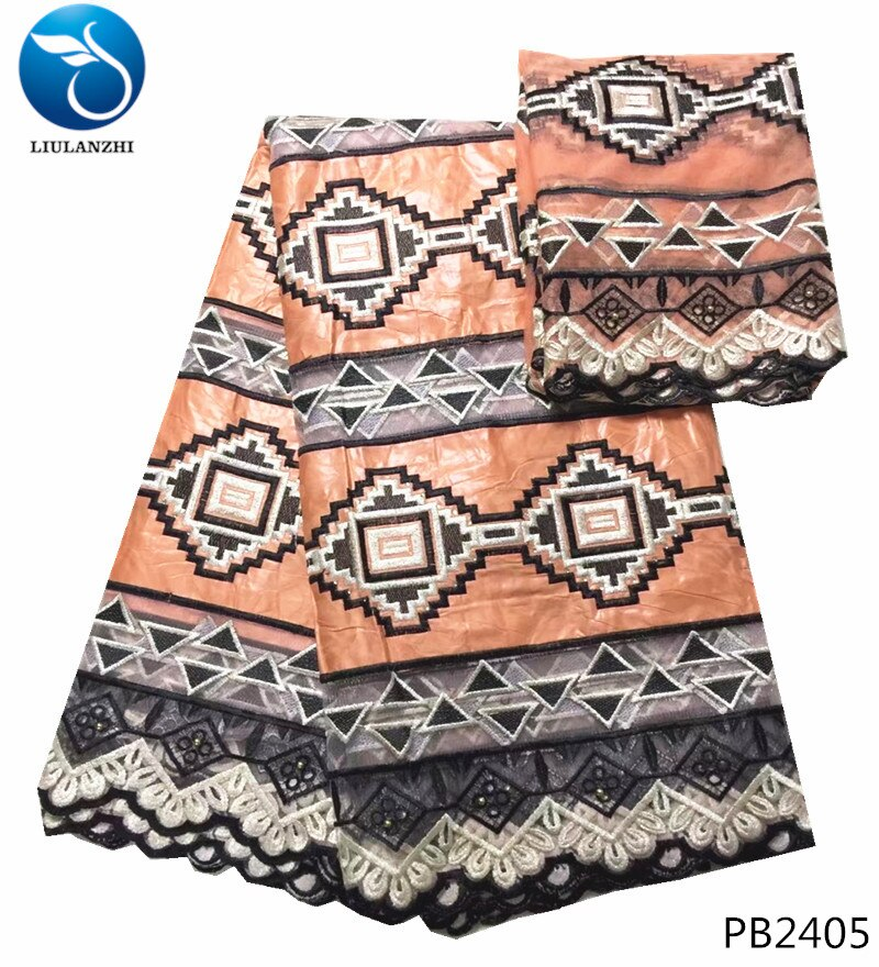 LIULANZHI bazin riche tela tejido kente batik guinea brocade tela en nigeria 5 + 2 yardas/set 100% material de algodón PB24