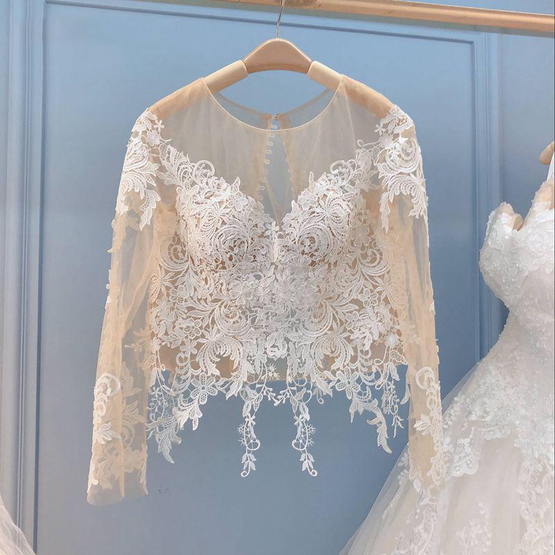 Bolero de encaje de boda chaqueta champán envuelve Boleros de manga larga para funda para vestido de novia pura ilusión cuello pico aplique