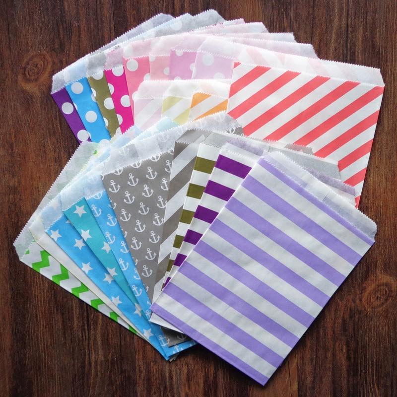 25 uds bolsas de papel de Diseño de ancla a rayas con puntos a prueba de grasa rayas onduladas colores caramelo bolsas de regalo para fiesta de boda Snack bolsa de papel caramelo