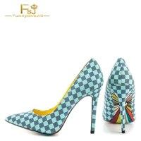 fsj women shoes ladies pumps 2021 spring autumn 4 inch heels blue plaid printed pointy toe stiletto heel big size shoes 11 12 13