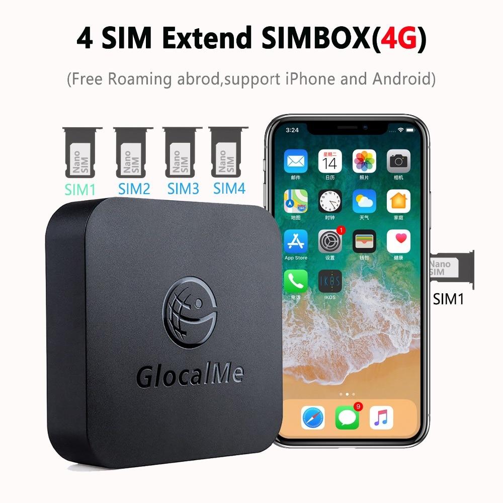 Glocalme Simbox Multi 4 SIM Modo de espera Dual 4G Roaming adaptador para iPhone Android No es necesario llevar a cabo el trabajo WiFi datos para hacer llamadas SMS