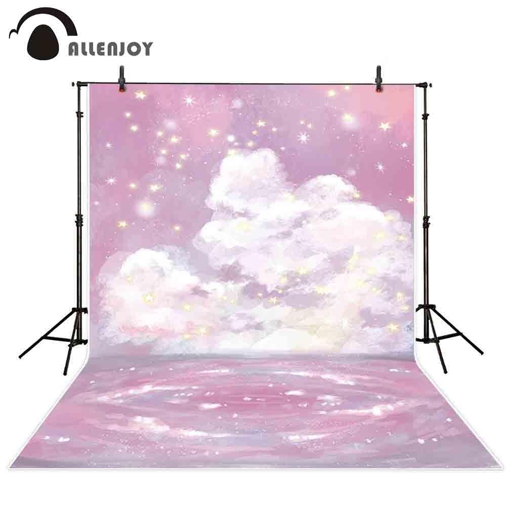 Fondo fotográfico Allenjoy cielo Rosa nubes estrella pintura chica foto estudio telones...