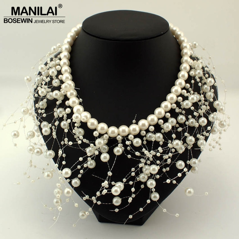 MANILAI Fashion imitation Pearls Tassel Necklace Women Bib Cluster Jewelry Choker Collar Wedding Statement Necklaces & Pendants