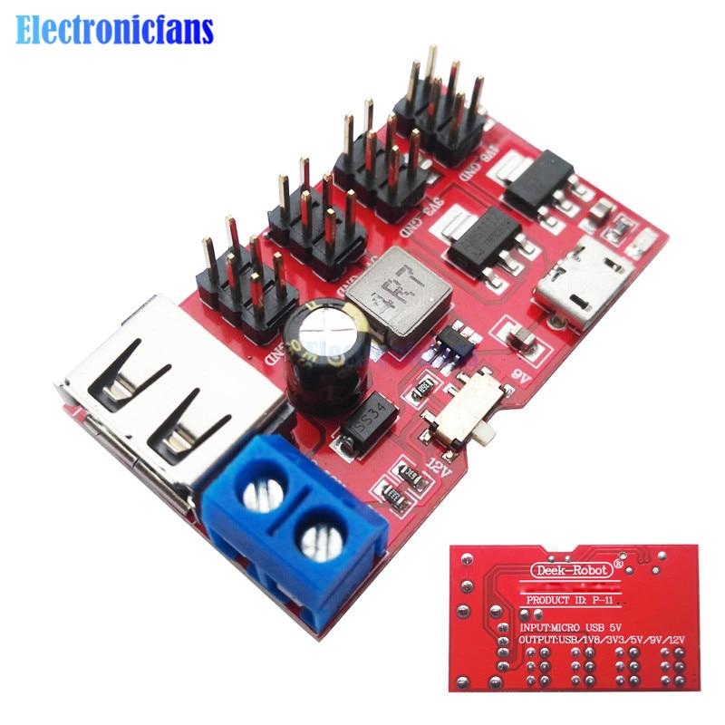MINI USB de fuga de DC a DC módulo de fuente de alimentación Micro USB de 5V a 1,8 V-12 V 12V 1,8 V 3,3 V 5V 9V 12V interruptor para Arduino