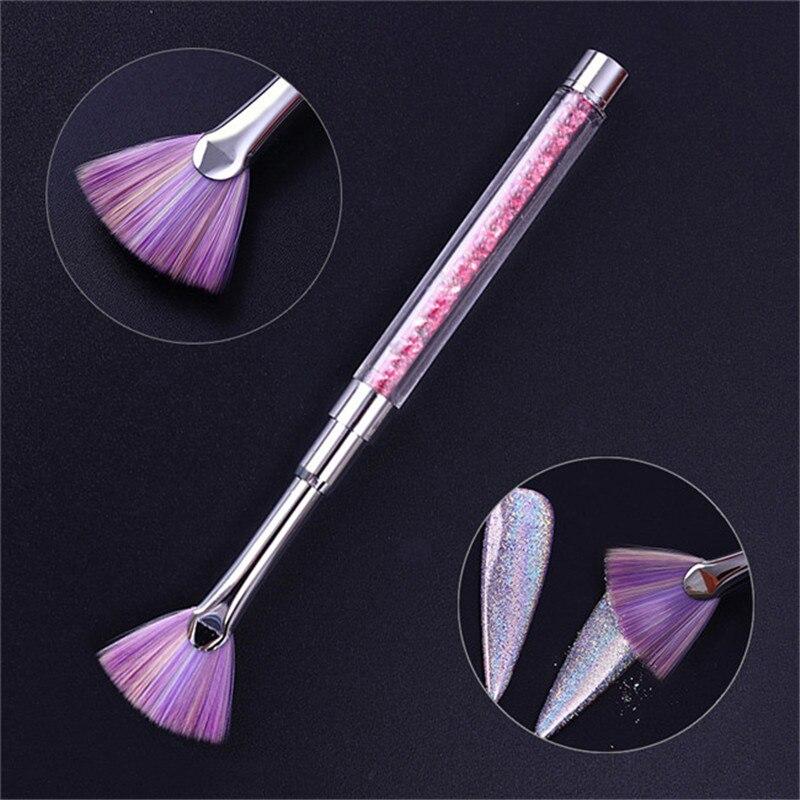 Тени градиентные веерные кисти для ногтей, пылезащитное средство для снятия пудры, ручка, стразы, цветная ручка, кисть для дизайна ногтей, макияж, инструмент для лица