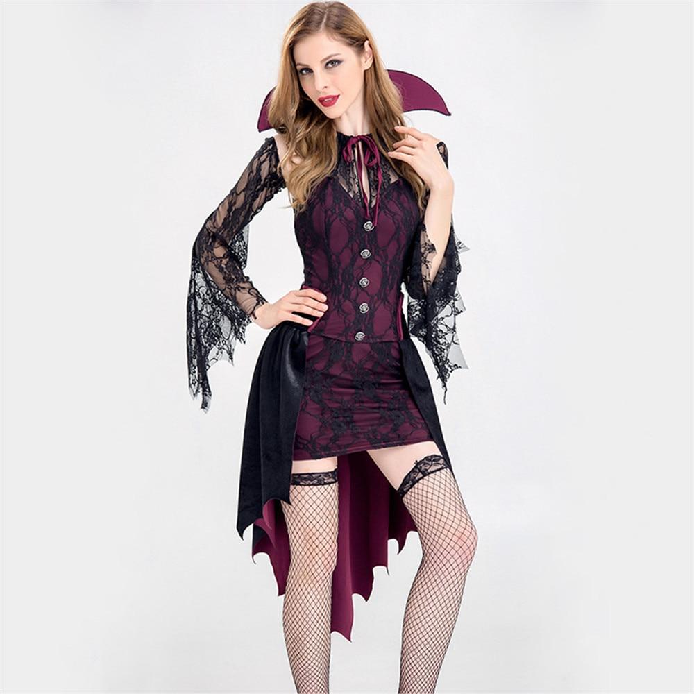 Женский костюм вампира на Хэллоуин, вечерние костюмы, готический Костюм Вампирши для ролевых игр