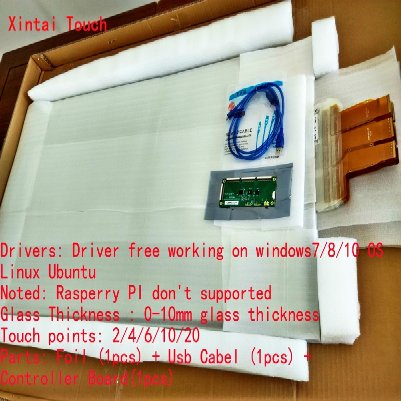 Película de pantalla táctil usb de 42 pulgadas, lámina táctil interactiva Real de 10 puntos para vidrio