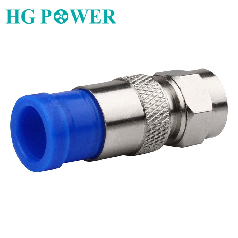 50 pcs RG6 ضغط موصلات للماء اقناع كابل محوري اتصال F ضغط موصل ضغط أداة الأزرق والفضة