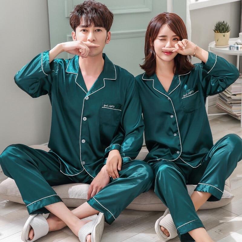 pajamas for women and men Solid 2 Pieces Sleep Silk Sleepwear Couple pajamas set homewear suit clothing