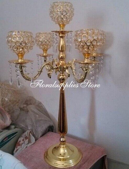 Candelabro de 5 brazos de 10 Uds., candelabro de cristal, candelabro, centro de mesa rústico de boda para decoración de mesa de recepción
