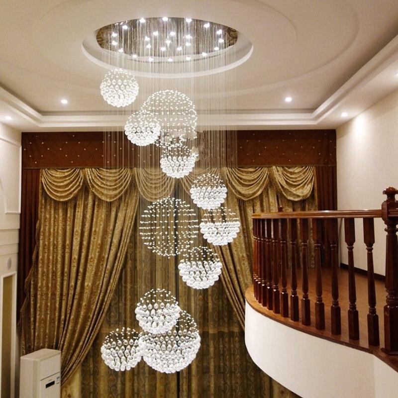 Bola de cristal lustre luminária led lustre grande lamparas moderna grande longo hanglamp groot groote teto pendente