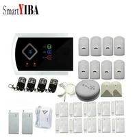 SmartYIBA     systeme dalarme de securite domestique filaire sans fil  SMS  GSM  russe  espagnol  francais  detecteur de fumee de gaz et dincendie
