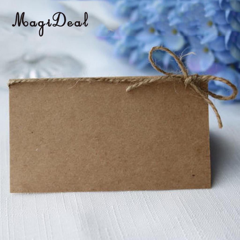 MagiDeal 100x papel Kraft lugar en blanco Tarjeta De Nombre mesa de boda rústica tarjeta cordel arco