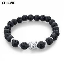 Женский и мужской браслет в виде Будды, из натурального камня, серебристого и черного цвета, с украшением в виде лавы, браслет для медитации