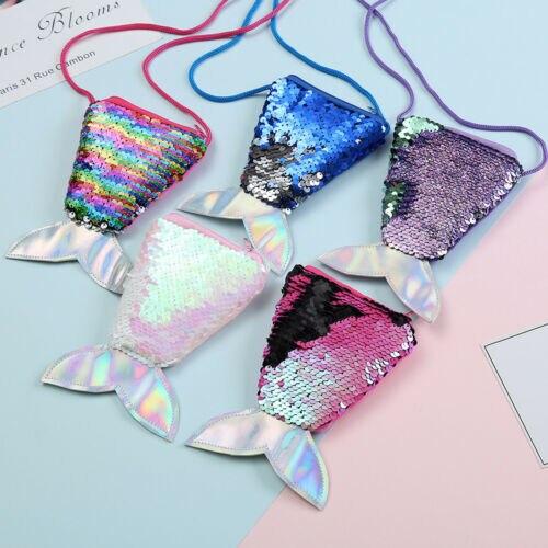 Niños colorido lentejuelas cola de sirena bolsa niñas moda cremallera bolsa billetera
