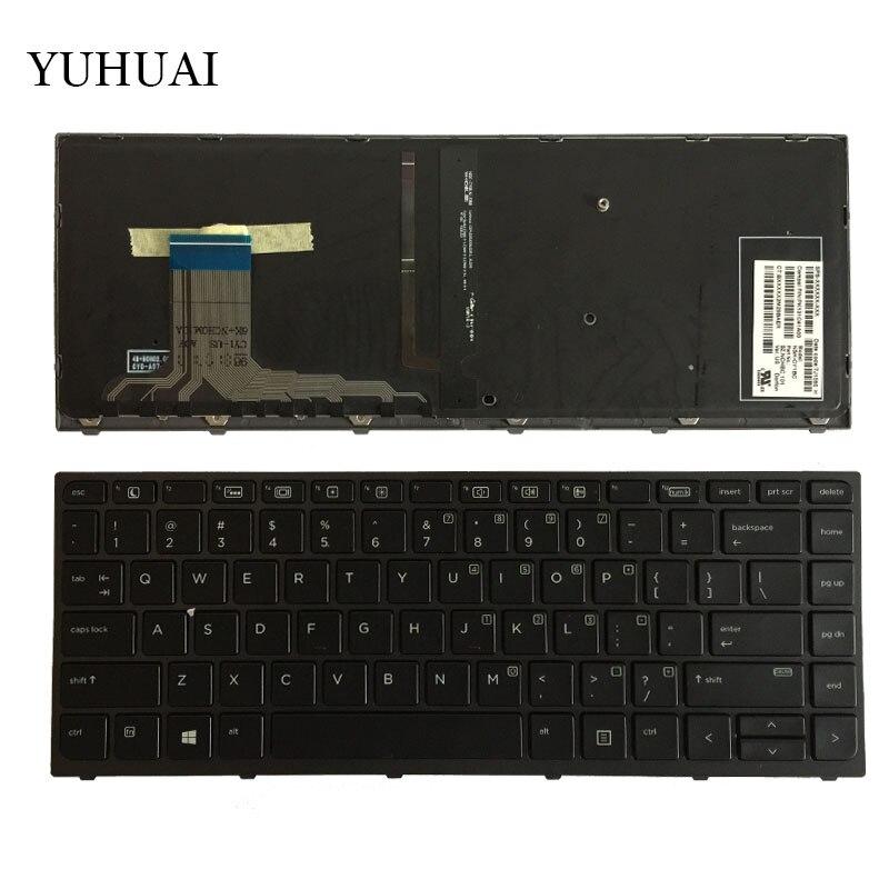 Nuevo teclado para ordenador portátil de EE. UU. Para HP ZBook Studio G3 con retroiluminación y Marco NSK-CY1BC teclado Inglés PK131C41A00