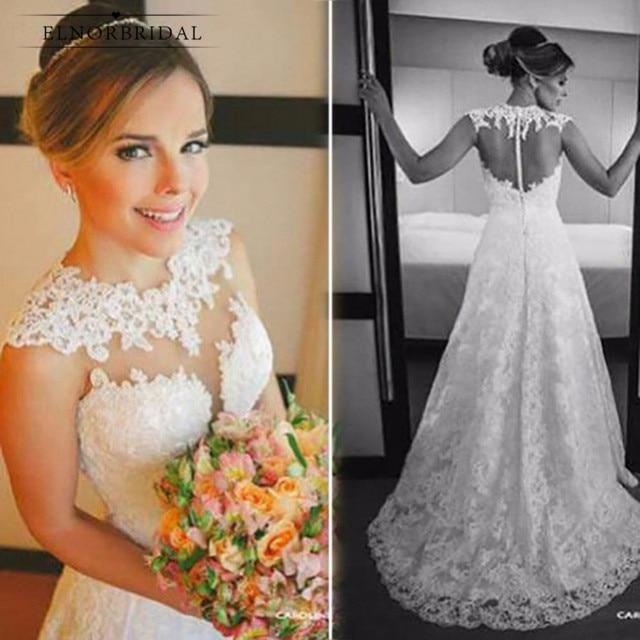 Винтажные кружевные свадебные платья 2021 нитей, прозрачные Свадебные платья а-силуэта ручной работы с иллюзией на спине, Интернет-магазин св...