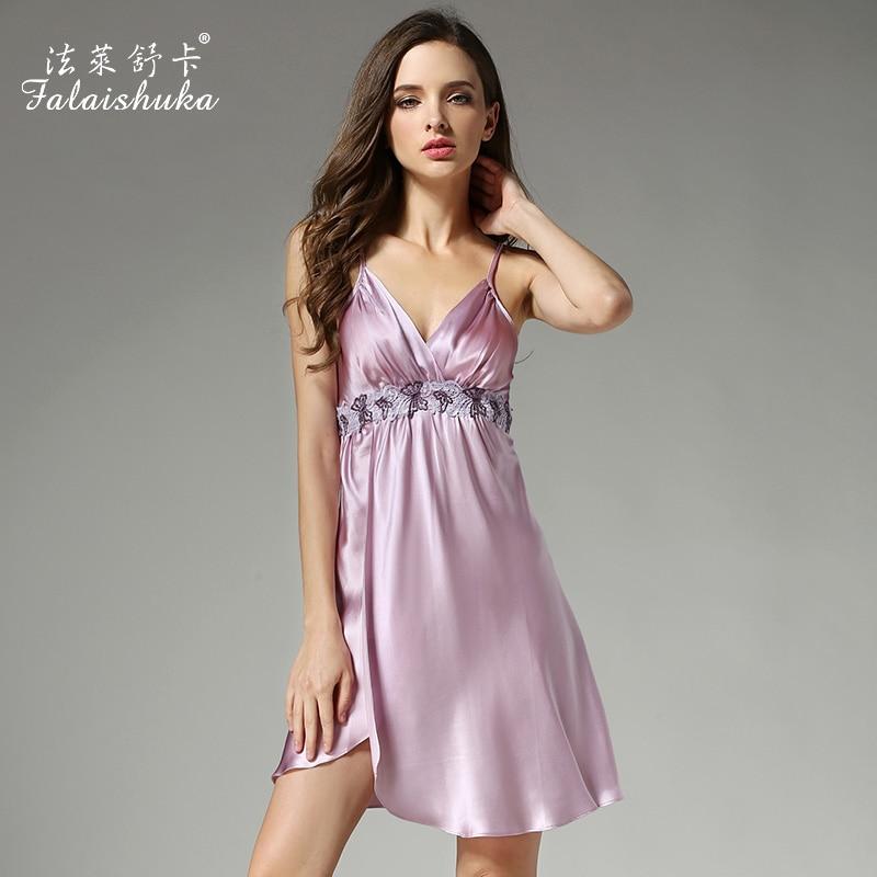 Homewear women summer 100% silk sexy lace embroidery spaghetti strap nightgowns &sleepshirts fashion plus size nightgowns lady