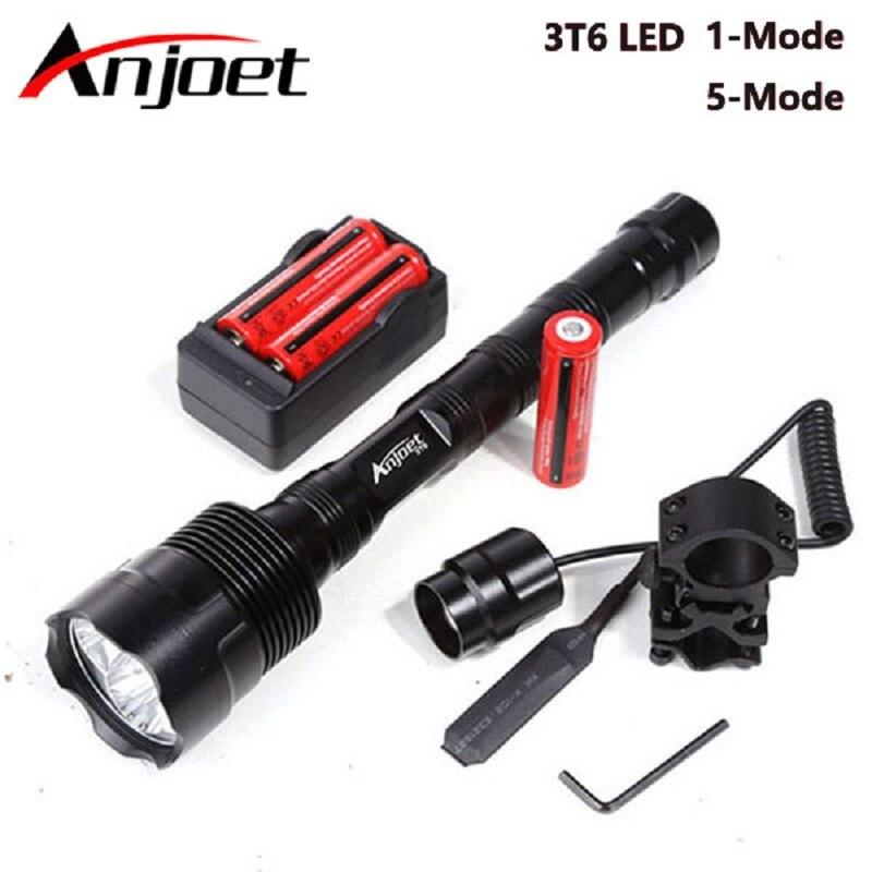 Anjoet 6000lm recarregável led lanterna xml 3t6 à prova dwaterproof água 1/5 modo 18650 bateria tático caça acampamento bicicleta flash luz