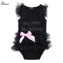 Ma petite robe noire en dentelle pour filles   Vêtements pour bébés, barboteuse, sans manches, à volants, avec nœud papillon, nouvelle collection été 2019