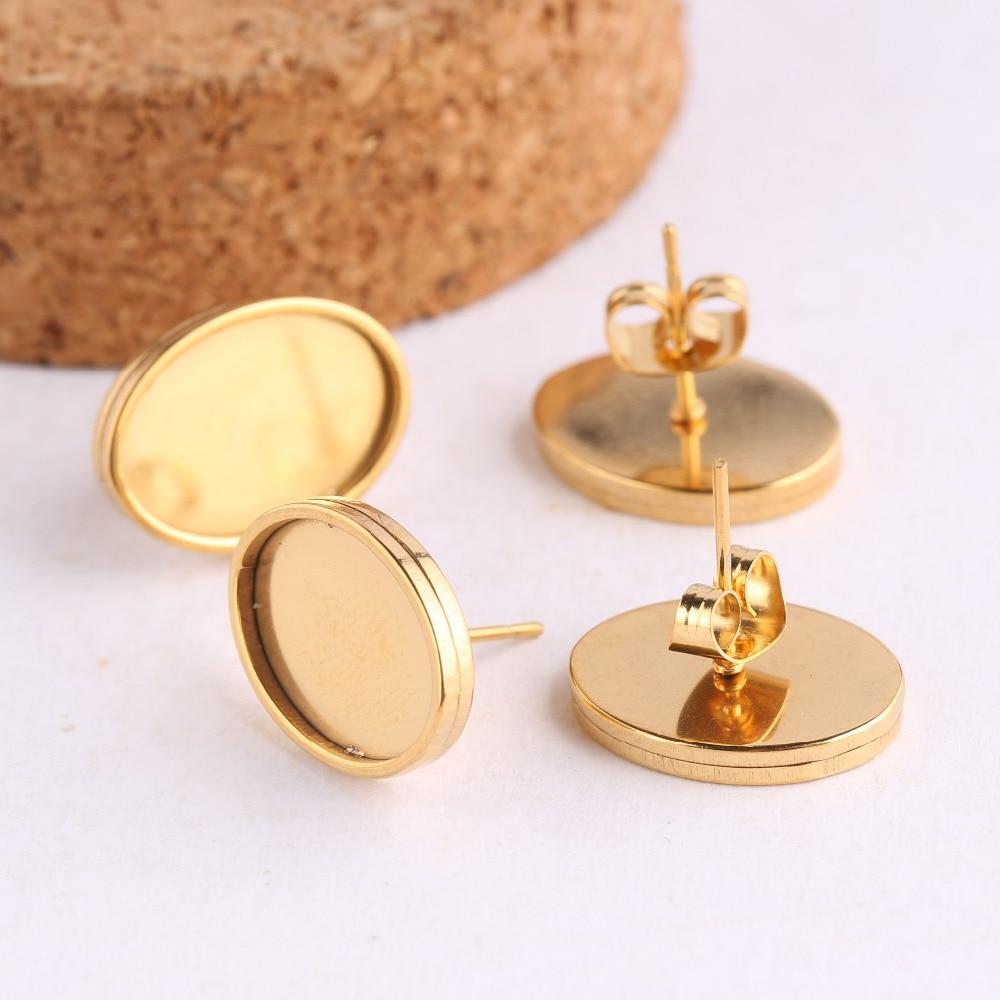 Onwear 4 Uds fit 10x14mm gafas ovaladas cabujón base de aretes configuración en blanco diy Acero inoxidable chapado en oro pendientes hallazgos