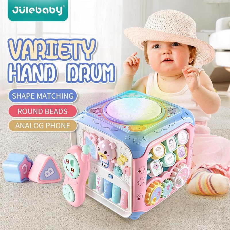 Многофункциональные Музыкальные игрушки для детей, детская шкатулка, музыкальные электронные игрушки 6-12 месяцев, снаряжение, часы, геометр...