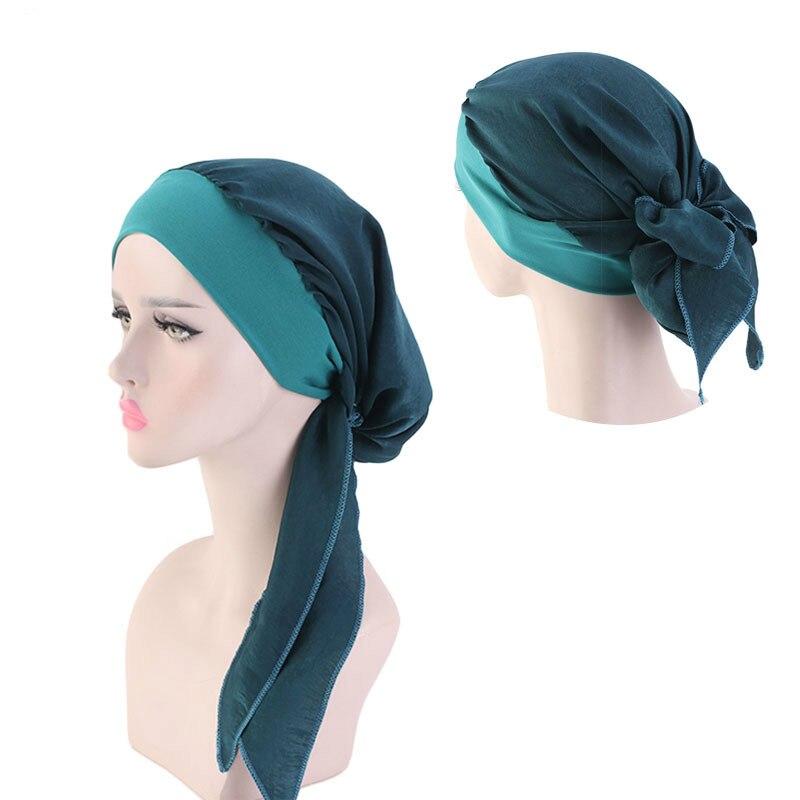 Nova Elastic Hairband Véu Chapéu De Seda Imitação Mulheres Turbante Chapéu Fashion Turbante Muçulmano Hijab Chapéus Cap Cap Envoltório 12 Indiano cor