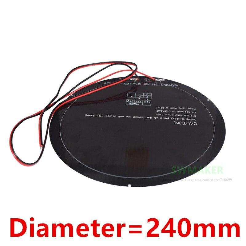 Diámetro 240mm Kossel impresora 3D heatbed con cable soldado 12V 140W substrato de aluminio MK3 cama caliente redonda