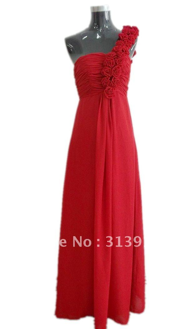free shipping fashion one shoulder long chiffon bridesmaid dresses 2017 new style real photoes